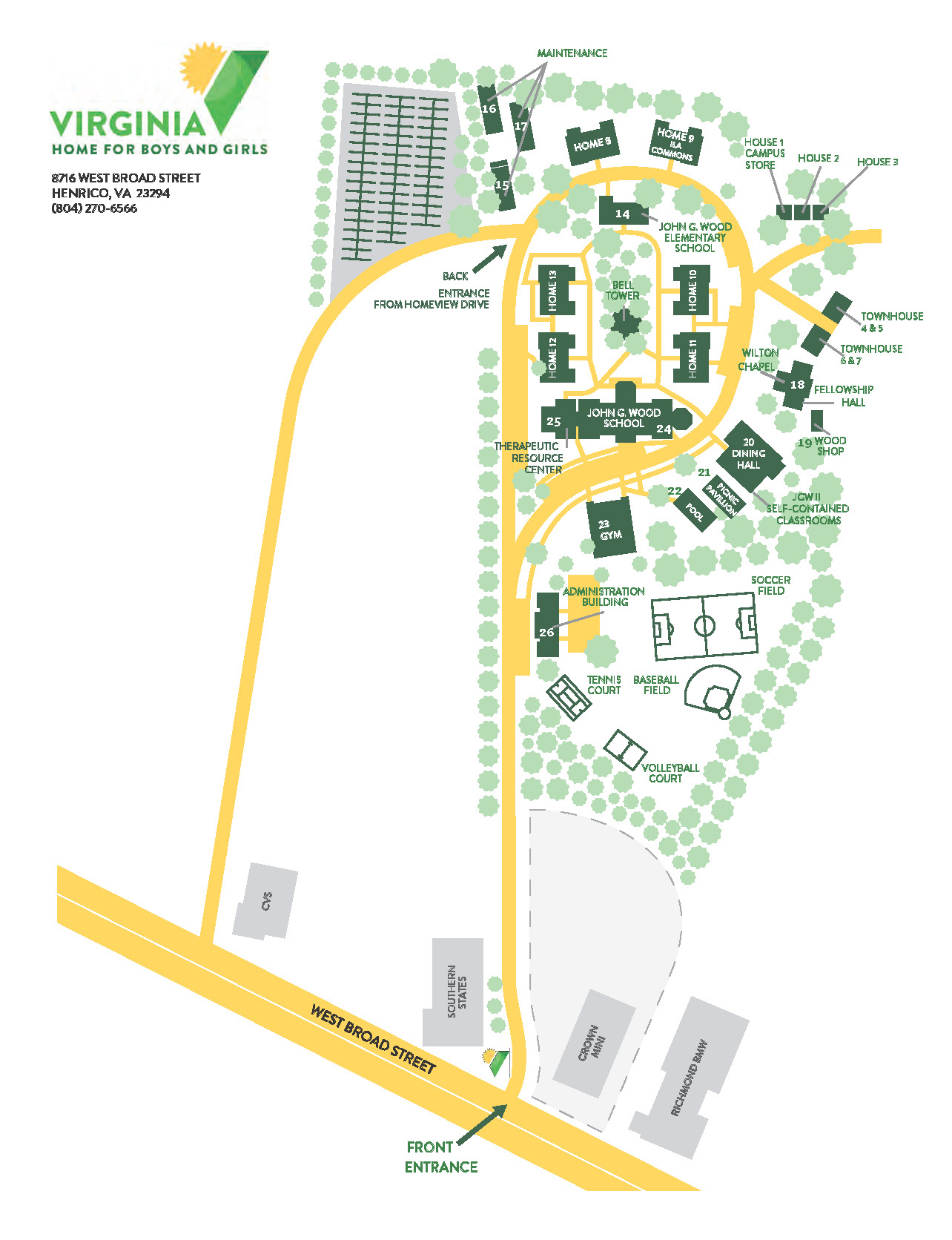 Norfolk State Campus Map.Contact Directions Tour Virginia Home For Boys Girls