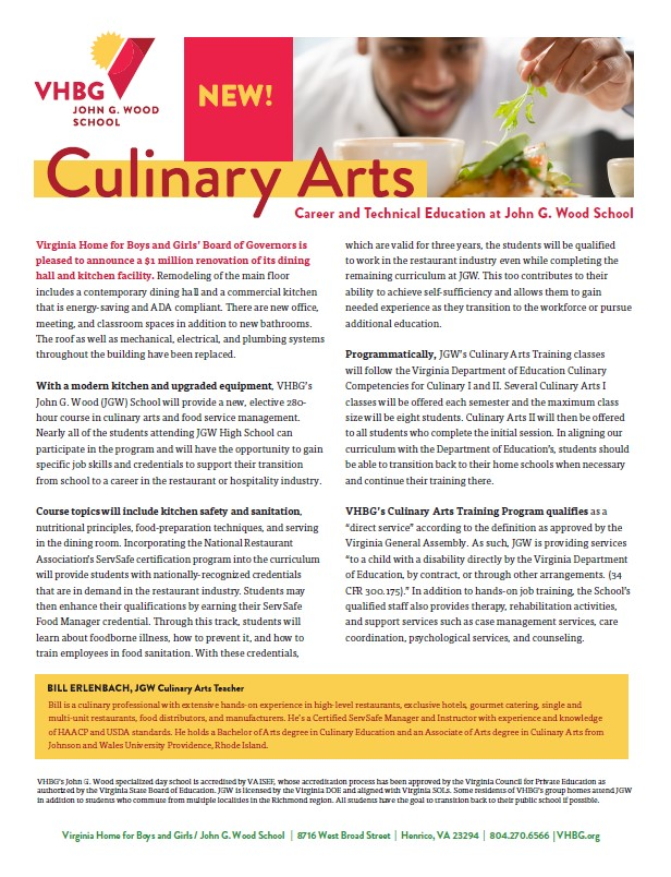 John G. Wood School Culinary Arts Flyer